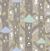Lewis & Irene - Fairy Lights - 6093 - Fairy Houses on Taupe (Glowing) - A306.2 - Cotton Fabric